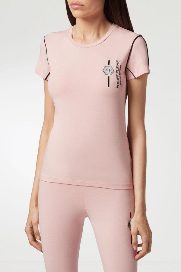 Розовая футболка с контрастными логотипами Philipp Plein