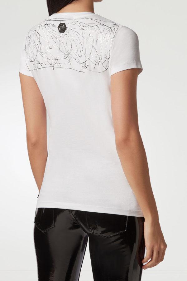 Белая футболка с серебристым узором Philipp Plein