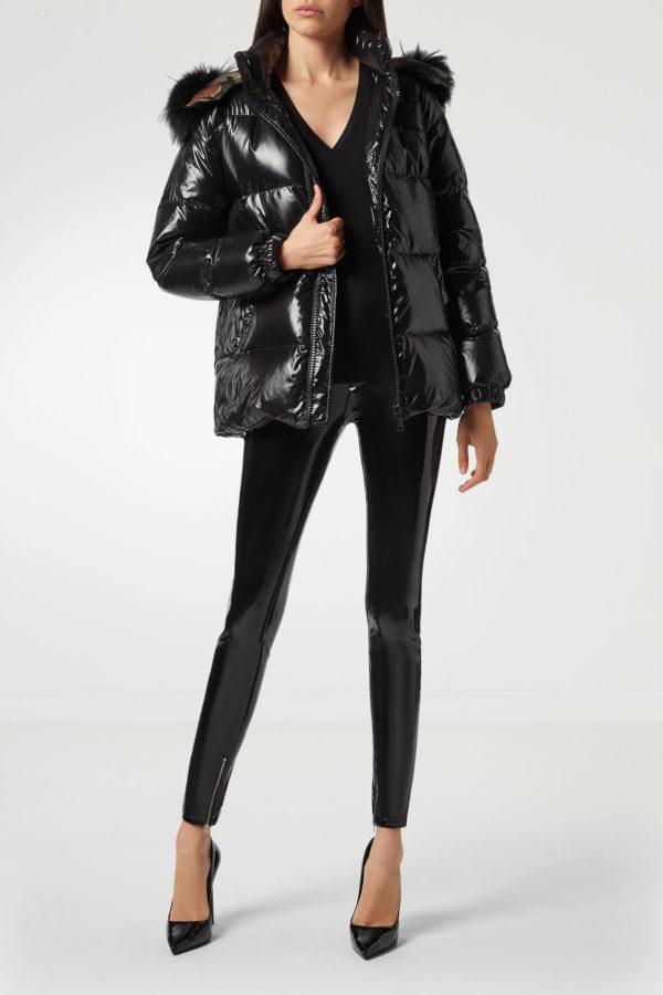 Черная стеганая куртка с мехом Philipp Plein