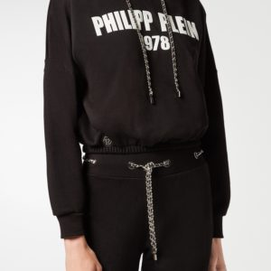 Черная толстовка с белой надписью Philipp Plein
