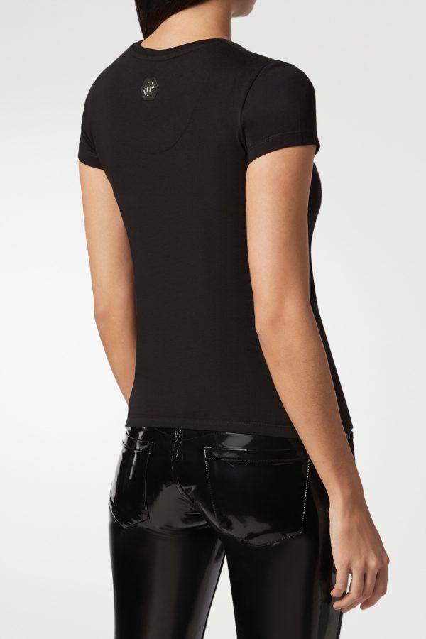 Темно-коричневая футболка с узором из стразов на груди Philipp Plein