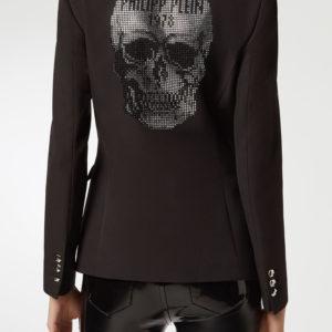 Графитовый пиджак с декором из стразов Philipp Plein