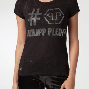 Черная полупрозрачная футболка с декором из стразов Philipp Plein