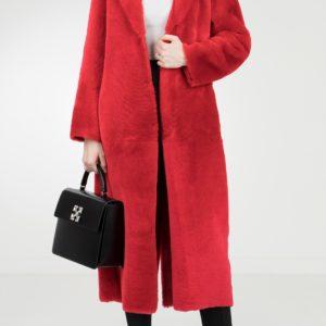 Красное пальто с меховой отделкой Red Valentino