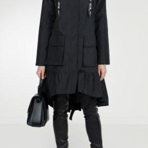 Черное пальто с оборкой и мехом Red Valentino