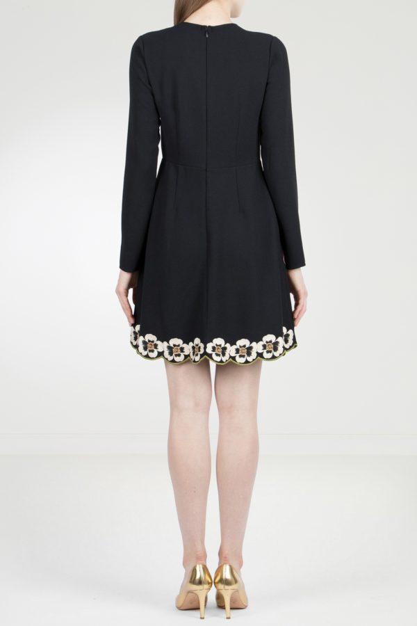 Черное платье-мини с контрастной вышивкой Red Valentino