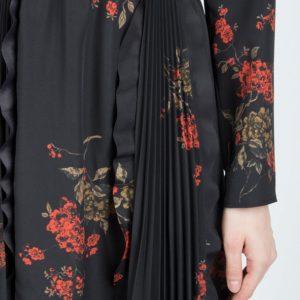 Черное платье-макси с плиссировкой и узорами Red Valentino