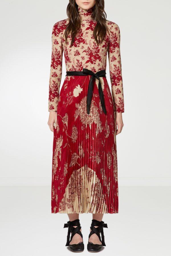 Комбинированное платье-макси с узорами Red Valentino