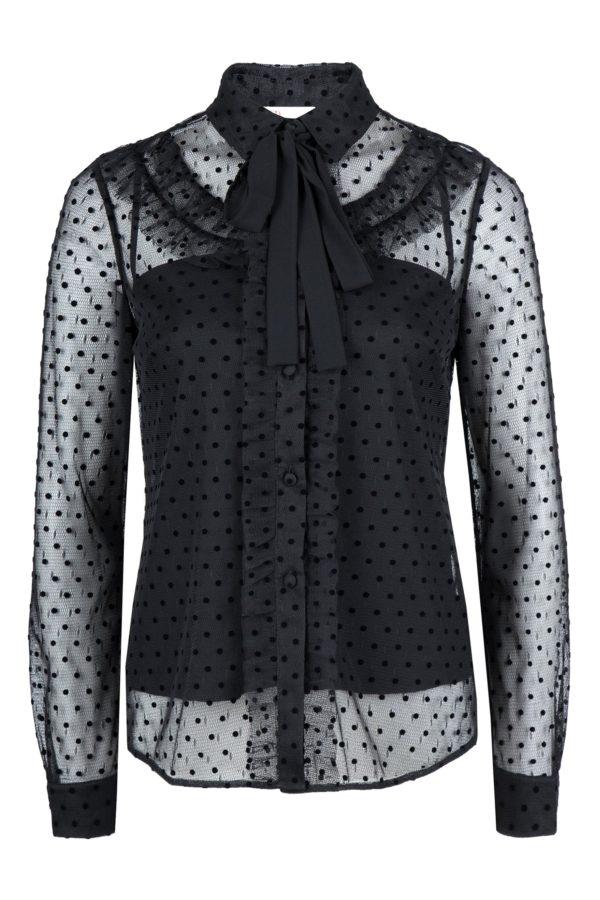 Черная полупрозрачная блузка с узором Red Valentino