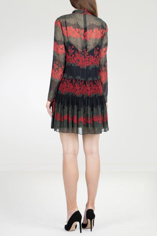 Черное платье-мини с воротником-аскот Red Valentino