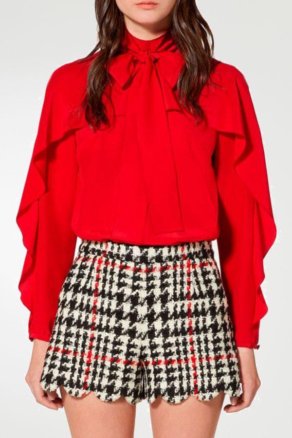 Красная блузка с оборкой и бантом Red Valentino