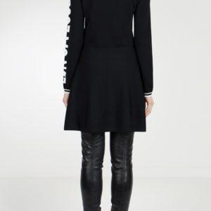Черное трикотажное платье-мини с логотипом Red Valentino