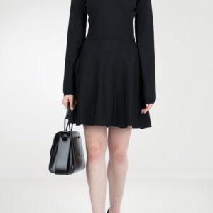 Черное трикотажное платье-мини с отделкой Red Valentino