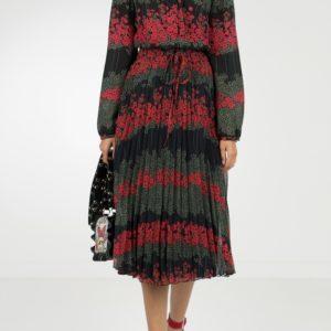 Черная блузка с мелкими узорами и воротником-аскот Red Valentino