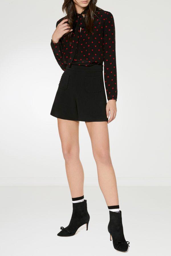 Черная блузка с узорами и воротником-аскот Red Valentino