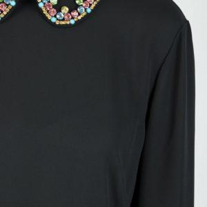 Черное платье-миди с кристаллами и плиссировкой Red Valentino