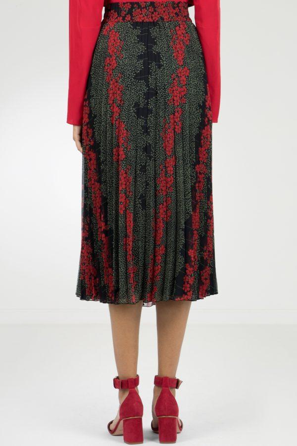 Черная плиссированная юбка-миди с узорами Red Valentino