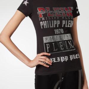 Черная футболка с декором и вышивкой Philipp Plein