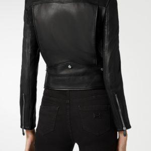 Черная кожаная куртка-косуха с декором Philipp Plein