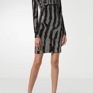 Черное мини-платье с узором из стразов Philipp Plein