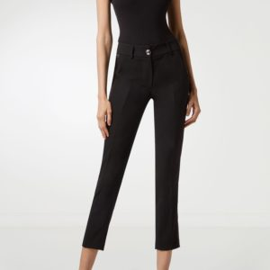 Черные брюки со стрелками и декоративной пуговицей Philipp Plein