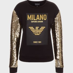 Толстовка с логотипом Milano и рукавами с блестками EMPORIO ARMANI
