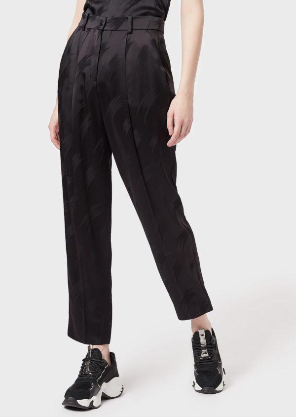 Жаккардовые атласные сигаретные штаны EMPORIO ARMANI
