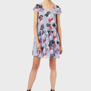 Шифоновое платье со стилизованным цветочным принтом EMPORIO ARMANI