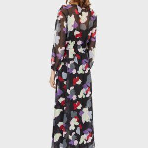 Длинное шифоновое платье со стилизованным цветочным принтом EMPORIO ARMANI