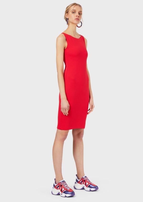 Трикотажное платье-футляр с волнистым узором EMPORIO ARMANI