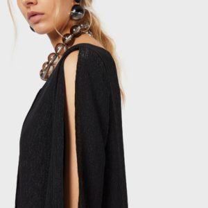 Платье из люрексового крепа со складками EMPORIO ARMANI
