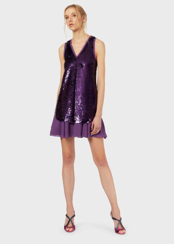 Платье с пайетками из шифона EMPORIO ARMANI