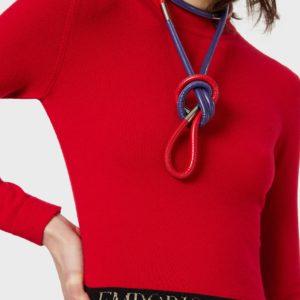 Платье макет с вырезом из трикотажа с жаккардовым логотипом EMPORIO ARMANI