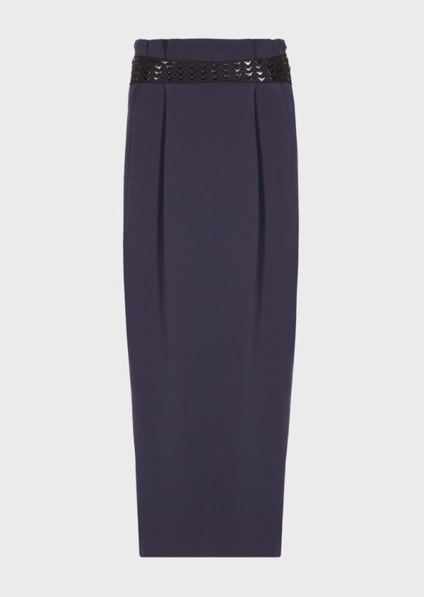 Длинная юбка из полиэстера с поясом с логотипом EMPORIO ARMANI