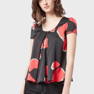 Креповая блуза с двойными складками и принтом LeoFlower EMPORIO ARMANI