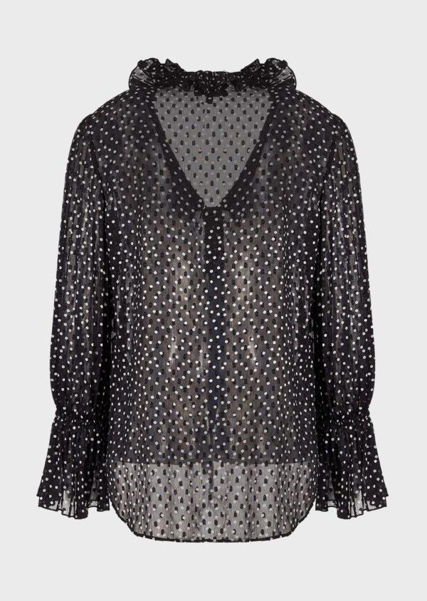 Блуза Crepon с жаккардовым мотивом в горошек EMPORIO ARMANI