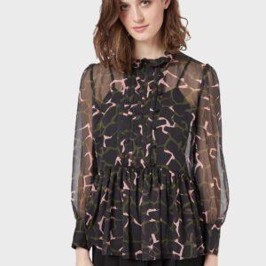 Блуза из крепона с принтом LeoFlower, воланом и плиссированным пластроном EMPORIO ARMANI