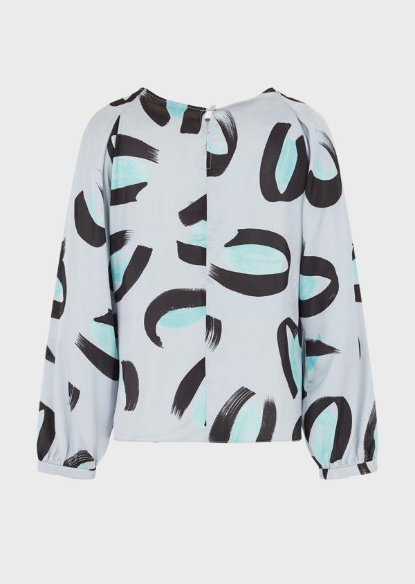 Атласная блузка со сплошным принтом мазка EMPORIO ARMANI