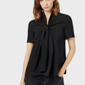Блуза из жидкой броневой ткани с шарфом декольте EMPORIO ARMANI