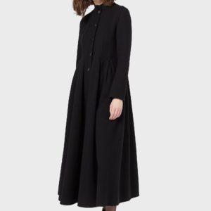 Длинное пальто из кашемира и шерстяной ткани EMPORIO ARMANI