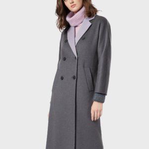 Двубортное кашемировое шерстяное пальто с роговыми пуговицами EMPORIO ARMANI