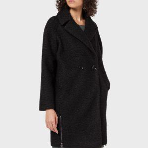 Пальто черное из ткани с эффектом астрахани