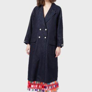 Двубортное джинсовое пальто с внутренним жилетом из искусственного меха EMPORIO ARMANI