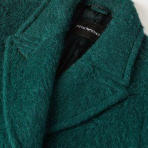 Двубортное пальто из шерсти альпаки велюровое EMPORIO ARMANI