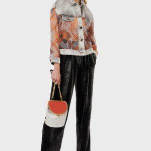 Джинсовая куртка с шелковыми вставками из органзы EMPORIO ARMANI