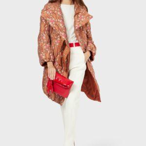 Стеганое пальто с жаккардовым цветочным мотивом EMPORIO ARMANI