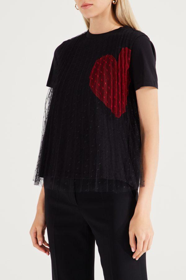 Черная футболка с сеткой Red Valentino