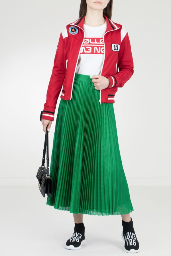 Плиссированная юбка зеленого цвета Red Valentino