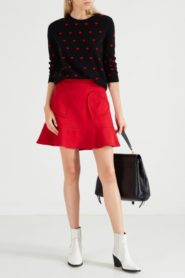 Красная юбка с оборкой Red Valentino