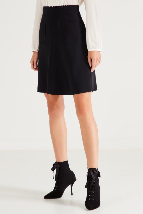 Черная юбка с фактурной отделкой Red Valentino